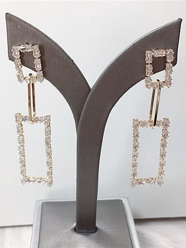 Zinc Alloy Cubic Zirconia Rectangle Trend Drop Earring