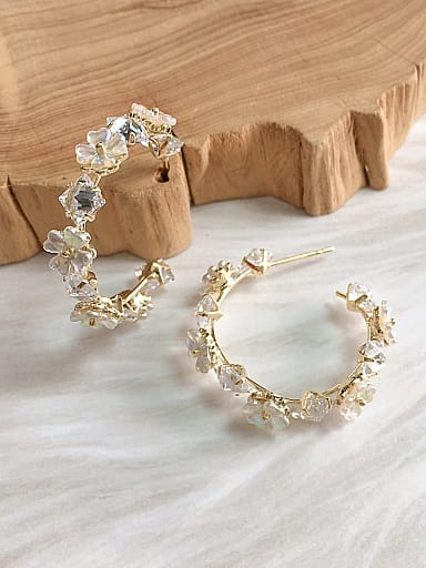 Brass Cubic Zirconia Lace Cone Trend Hoop Earring