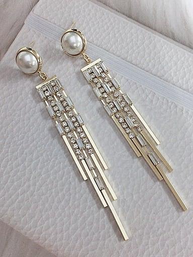 Zinc Alloy Imitation Pearl Tassel Statement Threader Earring