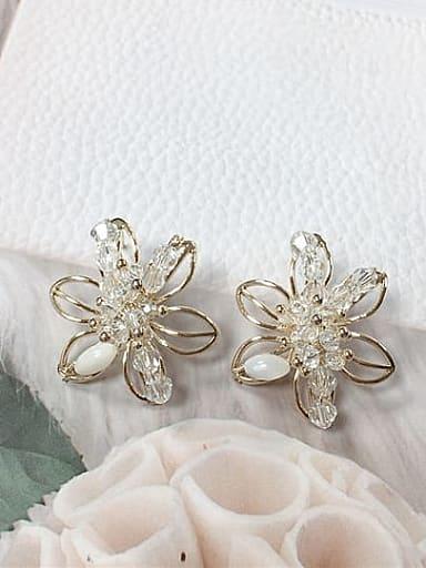Zinc Alloy Crystal Flower Trend Stud Earring