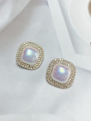 Zinc Alloy Imitation Pearl Square Dainty Stud Earring