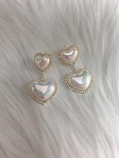 Zinc Alloy Imitation Pearl Heart Trend Drop Earring