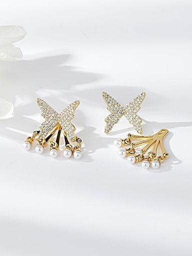 Brass Cubic Zirconia Butterfly Dainty Drop Earring
