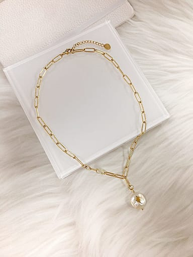 Stainless steel Imitation Pearl Irregular Trend Link Necklace