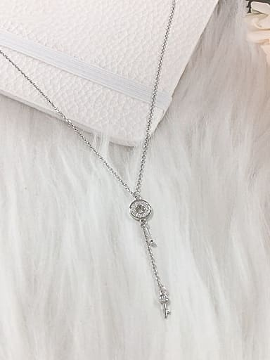 925 Sterling Silver Cubic Zirconia Key Dainty Initials Necklace