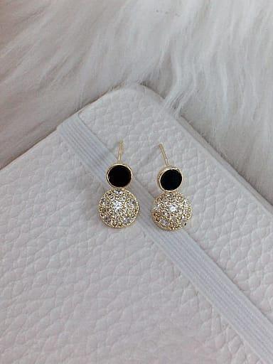 Brass Cubic Zirconia Acrylic Round Dainty Stud Earring