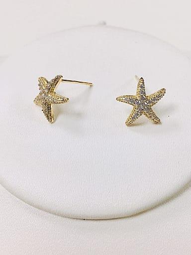 Brass Cubic Zirconia Star Dainty Stud Earring