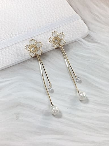 Brass Imitation Pearl Acrylic Flower Trend Drop Earring
