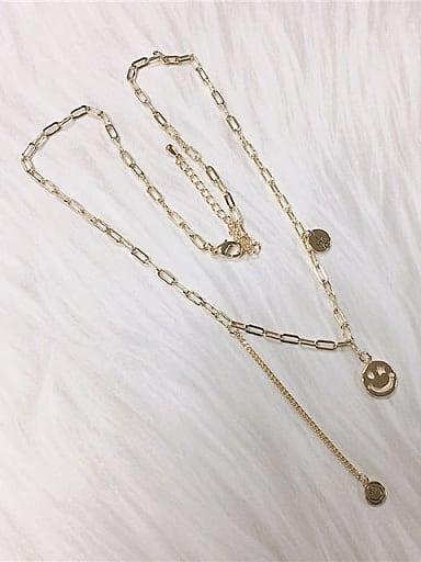 Brass Smiley Minimalist Link Necklace