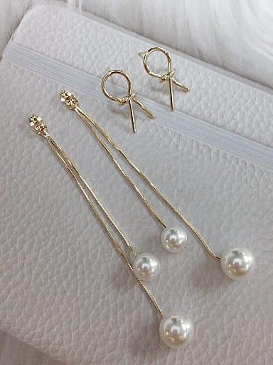 Zinc Alloy Imitation Pearl Tassel Trend Threader Earring