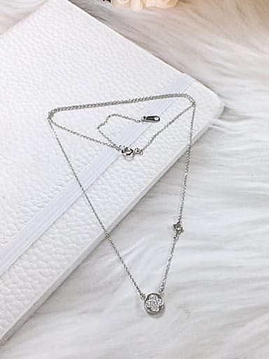 925 Sterling Silver Cubic Zirconia Round Dainty Initials Necklace