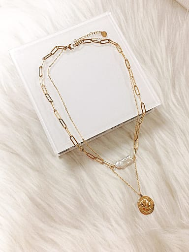Stainless steel Imitation Pearl Medallion Trend Multi Strand Necklace