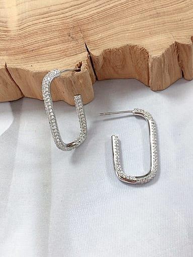 Brass Cubic Zirconia Irregular Minimalist Drop Earring