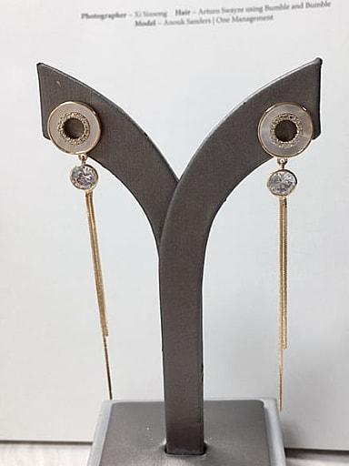 Brass Shell Tassel Trend Threader Earring