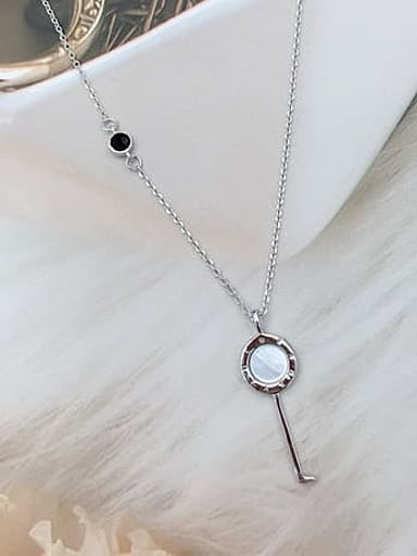 925 Sterling Silver Shell Key Dainty Initials Necklace