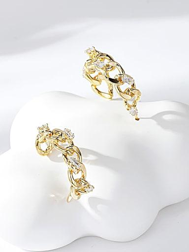 Brass Cubic Zirconia Round Trend Hoop Earring