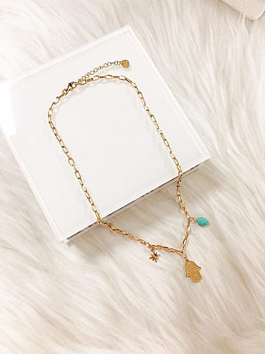 Stainless steel Resin Irregular Trend Link Necklace