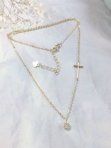 925 Sterling Silver Cubic Zirconia Dainty Initials Necklace