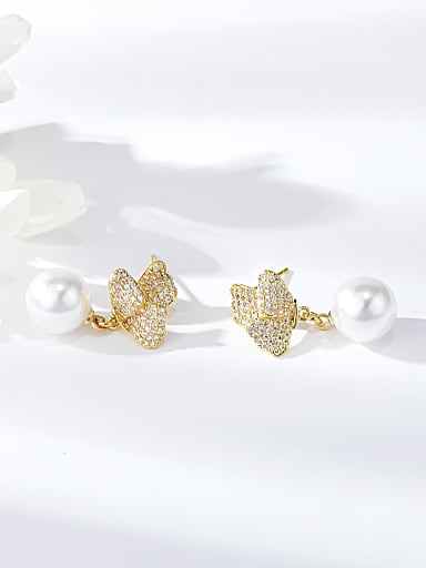 Brass Imitation Pearl Irregular Trend Drop Earring