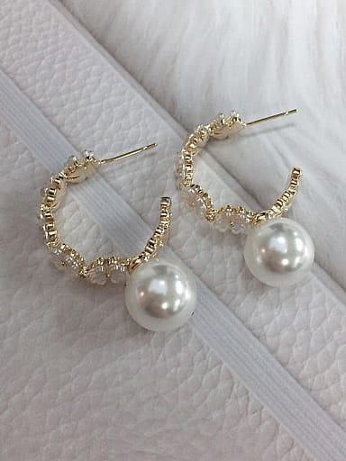 Brass Imitation Pearl Cone Trend Hoop Earring