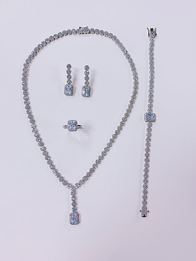 Statement Irregular Brass Cubic Zirconia Ring Earring Bangle And Necklace Set