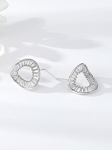 Brass Cubic Zirconia Cone Trend Stud Earring