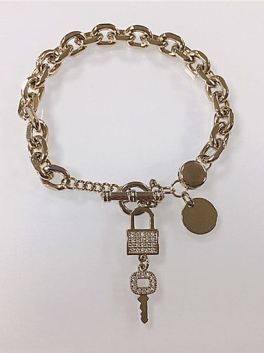 Brass Cubic Zirconia Key Trend Link Bracelet