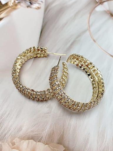 Brass Rhinestone Round Classic Hoop Earring
