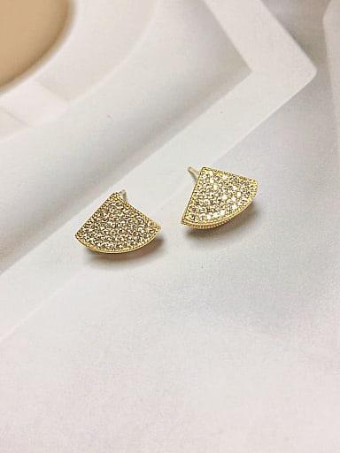 Brass Shell Geometric Trend Stud Earring