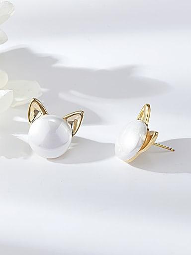 Zinc Alloy Imitation Pearl Panda Trend Stud Earring
