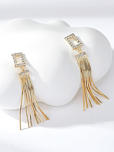 Brass Rhinestone White Tassel Trend Threader Earring