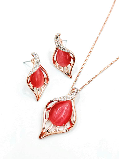 Trend Leaf Zinc Alloy Cats Eye Red Earring and Necklace Set