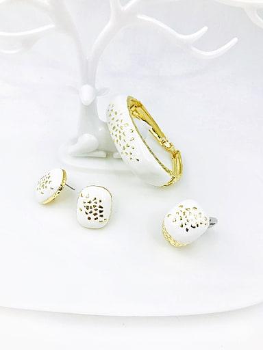Zinc Alloy Enamel Minimalist Rectangle Ring Earring And Bracelet Set