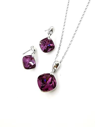 Minimalist Square Zinc Alloy Glass Stone Purple Earring and Necklace Set