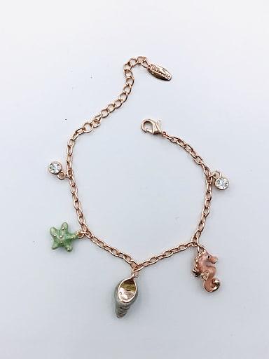 Zinc Alloy Rhinestone White Enamel Star Trend Charm Bracelet