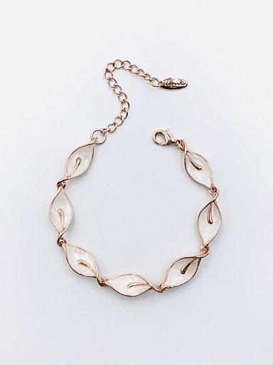 Zinc Alloy Shell White Leaf Dainty Bracelet