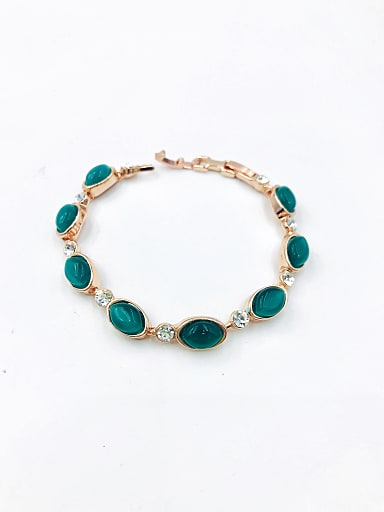 Zinc Alloy Cats Eye Green Geometric Classic Bracelet