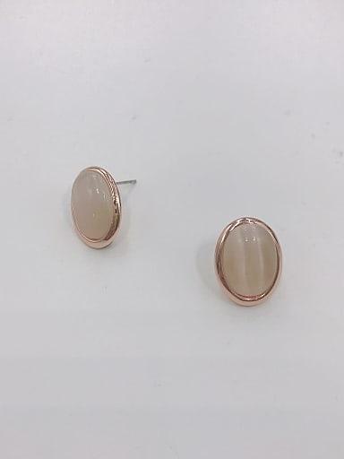 Zinc Alloy Cats Eye White Oval Minimalist Stud Earring