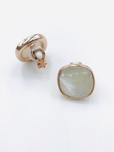 Zinc Alloy Shell White Square Minimalist Clip Earring