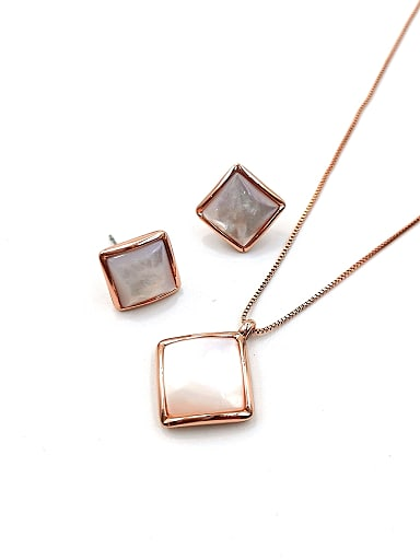 Minimalist Square Zinc Alloy Shell White Earring and Necklace Set