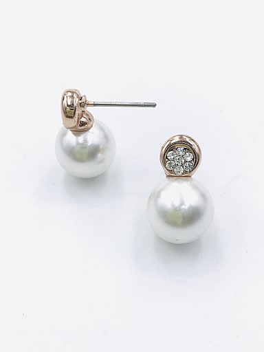 Zinc Alloy Imitation Pearl White Ball Minimalist Stud Earring