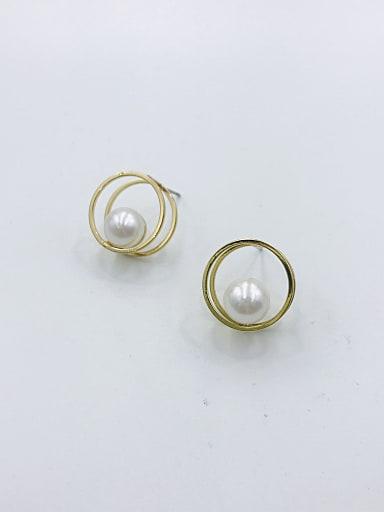 Zinc Alloy Imitation Pearl White Round Minimalist Stud Earring