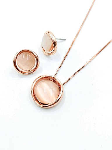 Minimalist Round Zinc Alloy Cats Eye White Earring and Necklace Set