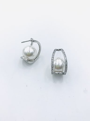 Brass Imitation Pearl White Irregular Trend Stud Earring