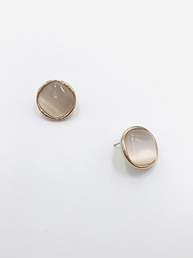 Zinc Alloy Cats Eye White Geometric Minimalist Stud Earring