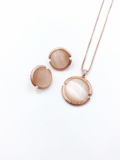 Classic Round Zinc Alloy Cats Eye White Earring and Necklace Set