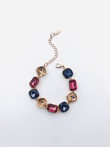 Zinc Alloy Glass Stone Multi Color Geometric Trend Bracelet