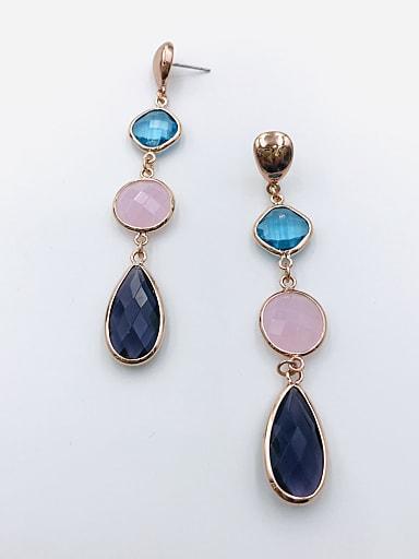 Zinc Alloy Glass Stone Multi Color Geometric Trend Drop Earring