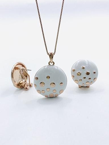 Minimalist Round Zinc Alloy Enamel Earring and Necklace Set