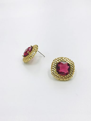 Brass Glass Stone Red Square Vintage Stud Earring